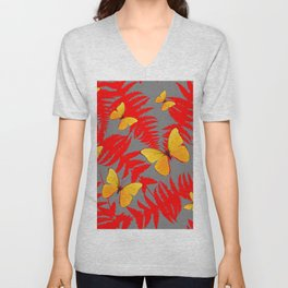 Red Fern Fronds With Yellow Butterflies & Grey Color Unisex V-Neck