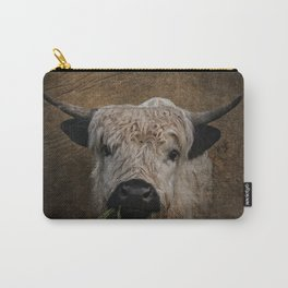 White High Park Cattle Chewing Grass Carry-All Pouch