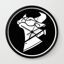 Cow Chop Black & White Wall Clock