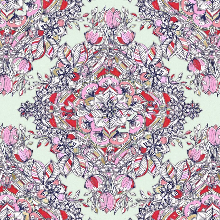 Floral Diamond Doodle in Red and Pink Comforters