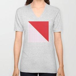 Geometrics in Red and Purple Unisex V-Neck