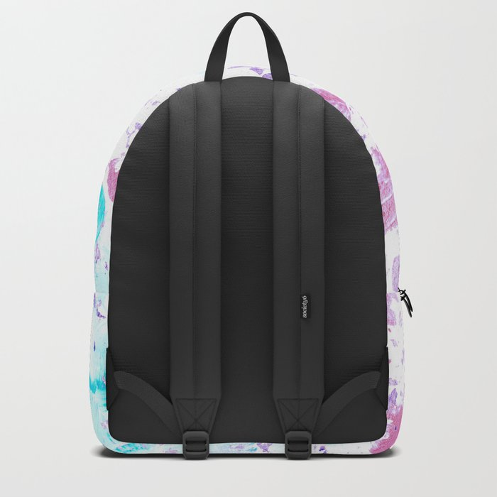 Pink and Blue Metallic Modern Abstract Backpack
