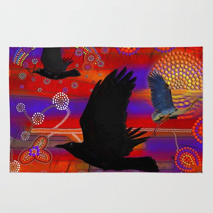 Sunset On Lake Wendouree Australian Aboriginal Art Theme Rug By