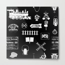Railroad Symbols on Black Metal Print