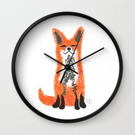 Happy Fox Blue Leaves Wall Clock