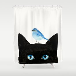 Cat and Bird Shower Curtain