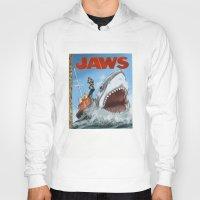 jaws Hoodies featuring Jaws by Tom McWeeney