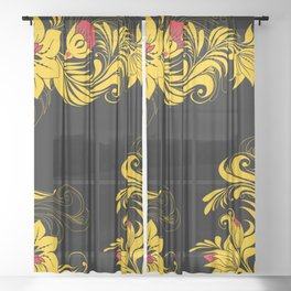 Golden floral ornament Sheer Curtain