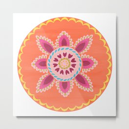 Suzani inspired floral 1 Metal Print