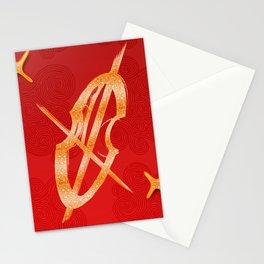 Cello Music Theme Orange Copper Stationery Cards