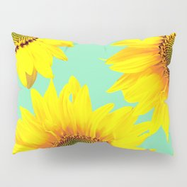 Sunflowers on a pastel green backgrond - #Society6 #buyart Pillow Sham