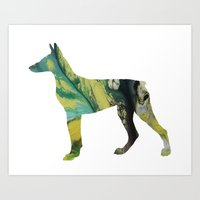 doberman Art Prints featuring Doberman  by Mordax Furittus