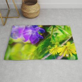 blue and yellow flower DD Rug