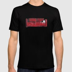 cat in a red sofa  Black Mens Fitted Tee MEDIUM