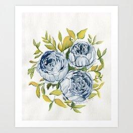 Blue Flowers Watercolor Art Print