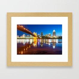 Ohio River Reflections of the Downtown Cincinnati Skyline Framed Art Print