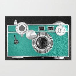 Teal retro vintage phone Canvas Print