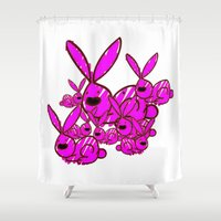 bunnies Shower Curtains featuring Bunnies by Christa Bethune Smith