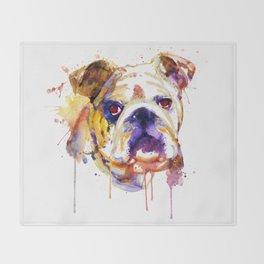 English Bulldog Head Throw Blanket