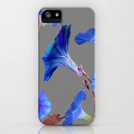 Grey Color Blue Morning Glory Art Design Pattern iPhone Case
