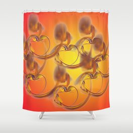 golden hearts Shower Curtain
