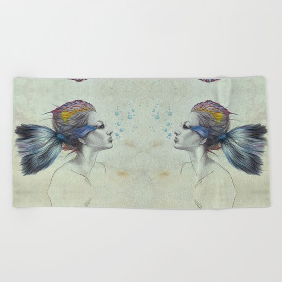 When I was a fish | textured Beach Towel