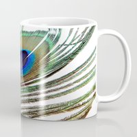 peacock feather Mugs featuring Peacock Feather by chauloom