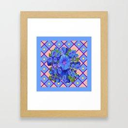 Blue Diamond Patterns Morning Glories Art Framed Art Print