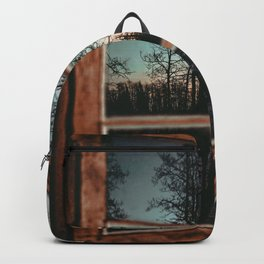 Lumberjack Cabin Window // Grainy Reflection of the Sunset and Trees Backpack