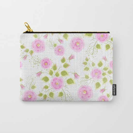 Pink flowers on a white background Carry-All Pouch