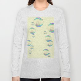 IRIDESCENT SOAP BUBBLES  ON YELLOW COLOR Long Sleeve T-shirt