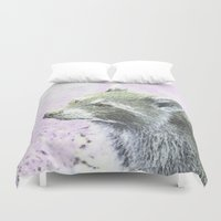 racoon Duvet Covers featuring sketched racoon by MehrFarbeimLeben