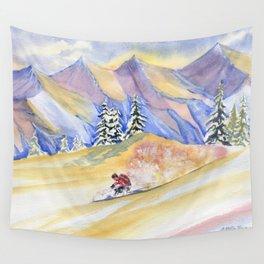 Powder Skiing Art Wall Tapestry