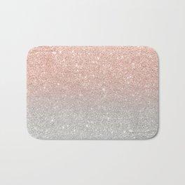 Modern trendy rose gold glitter ombre silver glitter Bath Mat