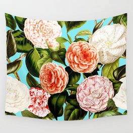 Vintage & Shabby Chic - Teal Floral Camellia  Flowers Watercolor Pattern Wall Tapestry