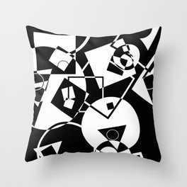 Simply Black And white - Abstract, geometric, retro, black and white random pattern Throw Pillow