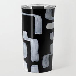 Strange Minimalist Abstract Ghostly Tribal Primitive Art Mid Century Modern Pattern Travel Mug
