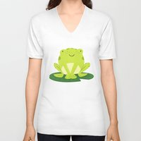 frog V-neck T-shirts featuring Frog by Claire Lordon