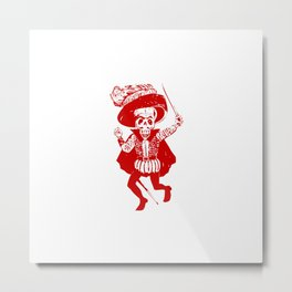 Skeleton Pirate With Dagger Metal Print