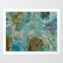 Colorful Blue Fluid Acrylic Painting Art Print