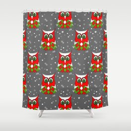 Christmas Snow Owl Pattern Shower Curtain