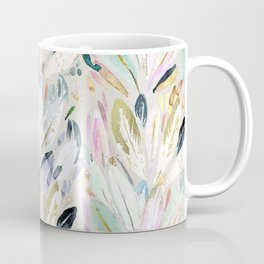 Pastel Shimmer Feather Leaves on Gray Coffee Mug