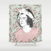 coconutwishes Shower Curtains featuring H circle floral  by Coconut Wishes