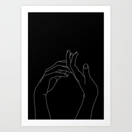 Hands line drawing illustration - Abi black Art Print