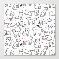Kitties with Hearts Canvas Print