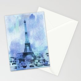 Blue Eifel Tower Paris France abstract painting Stationery Cards