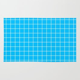 Deep sky blue - turquoise color - White Lines Grid Pattern Rug