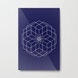 Minimalist Geometric Midnight Blue Metal Print