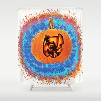 stitch Shower Curtains featuring Pumpkin Stitch  by grapeloverarts