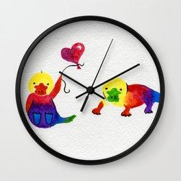 Little Rainbow Platypus Wall Clock